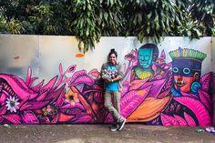 Kenny Scharf, Saner, Joana Vasconcelos and Other Artists Transform Abandoned Estate in Sao Paulo Murals Street Art, Street Art Graffiti, Mural Wall Art, Mural Painting, Floral Illustrations, Illustration Art, Garden Mural, Arte Tribal, Mexico Art
