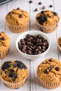 These VEGAN CHOCOLATE CHIP MUFFINS are easy to make any day of the week, sure to become a family favorite! Try the option of added blueberries too!