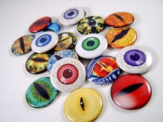 1 Flat Back Buttons The Eyeball Collection 18 by thefaerywatcher, $7.20