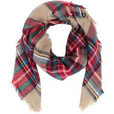 Armitage Avenue Plaid Blanket Scarf ($33) ❤ liked on Polyvore featuring accessories, scarves, tan, tartan plaid shawl, tartan blanket scarf, plaid scarves, plaid shawl ve tartan scarves