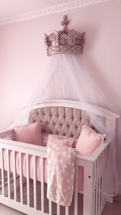 Princess nursery, crown canopy I kinda wanna do this for Chase's room Baby Nursery Decor, Baby Bedroom, Baby Decor, Girl Nursery, Nursery Room, Baby Girl Cribs, Disney Nursery, Baby Girl Rooms, Baby Nursery Ideas For Girl