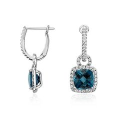 Something Blue, London Blue Topaz and White Sapphire Halo Cushion-Cut Drop Earrings | #BlueNile
