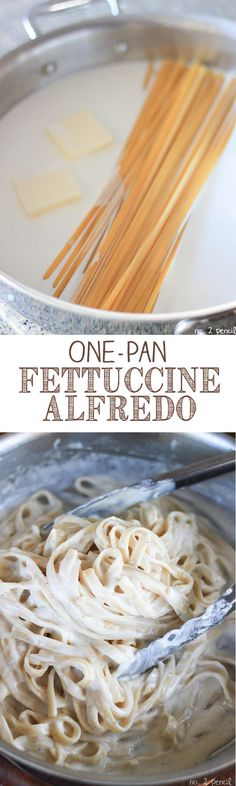 Easy One Pan Fettuccine Alfredo - even the pasta cooks in the same pan!.