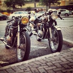 A couple of Honda Cafe Racers. Someday I'll have a girlfriend that will ride alongside me
