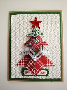 Christmas card ... Origami Christmas Tree ... luv the plaid papers and how they match up in the folds and layers ...