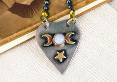 Items similar to Blue Lace Agate Moon, Mixed Metal Planchette, Hand-cut Stamped, Gunmetal Ball Chain, Halloween Pendant on Etsy Blue Lace Agate, Nickel Silver, White Gift Boxes, Mixed Metals, Ball Chain, Moon, Pendant Necklace, Drop Earrings, Group