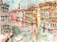 ink and watercolor, Venice