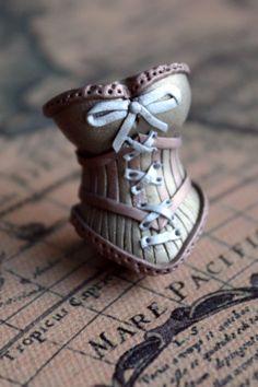 Custom metallic minature burlesque laced corset brooch - polymer clay - 2.5cm