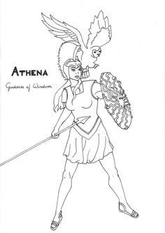 Athena coloring page Greek God mythology Unit study by LilaTelrunya on deviantART Snake Coloring Pages, Super Coloring Pages, Monster Coloring Pages, Coloring Book Art, Greek And Roman Mythology, Greek Gods And Goddesses, Greek Monsters, Roman Gods, Athena Goddess