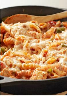 Italian Chicken-Pasta Skillet -- This cheesy, hearty one-skillet chicken pasta is filled with flavor! Plus, this healthy living recipe is ready for the dinner table in just 30 minutes time.