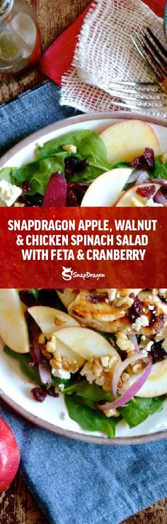 With its bright color, snappy texture and bursting flavor, SnapDragon apple is sure to be a crowd-pleaser and this flavor-packed salad will be a sure favorite for the whole family! Spinach Salad With Chicken, Spinach Stuffed Chicken, Apple Recipes, Lunch Recipes, Dinner Recipes, Cooked Apples, Feta, Crowd, Bright
