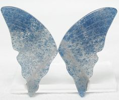 Rare Gemstone Butterfly Wing Carved Stone Matched Cabochon Pair of extremely rare mineral celestial blue Aerinite in Quartz  Weight: 23 carats