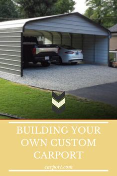 Easily design the exact carport you need with our user-friendly online custom builder! Shed Roof Design, Flat Roof Design, Metal Carports, Metal Garages, Diy Carport Kit, Carports For Sale, Garage Construction, Double Carport, Carport Designs