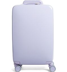 In love with this pale purple carry-on that combines Bluetooth technology with a lightweight and durable shell.