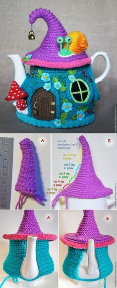 Knit a heating pad on the kettle (or, as more commonly known, a tea cosy) Crochet Kitchen, Crochet Home, Knit Or Crochet, Crochet Crafts, Crochet Projects, Crochet Geek, Tea Cosy Knitting Pattern, Tea Cosy Pattern, Knitting Patterns