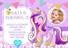 My Little Pony Birthday Invitations /  Birthday Party card - Digital Printable File - Princess Cadence Girly Cute