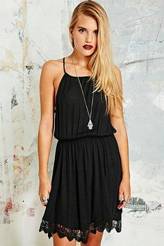 Ecote Garbie Crochet Dress in Black - Urban Outfitters