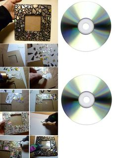 Diy Picture Frames Ideas and Some Examples You Can Try Out : Easy Picture Frame Ideas. Diy Photo Frame Cardboard, Photo Frame Crafts, Cardboard Crafts, Cd Diy, Diy Décoration, Cd Crafts, Diy Home Crafts, Diy Simple, Easy Diy
