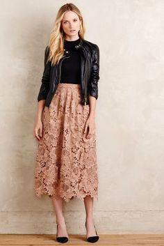 Primrose Midi Skirt pastel pink lace, black top, black leather jacket, black shoes