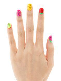 colorful fruit cocktail nails