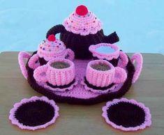 crochet tea set
