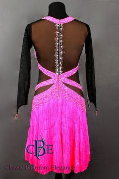 Latin Dance Dress for Rent exclusively thru Classic Ballroom Elegance at www.cberentals.com  Dress BRB257 back view is shown here.