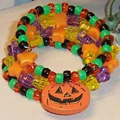 Halloween Pumpkin and Beads Wire Wrap Bracelet by GlorysCloset