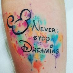 Mickey inspired tattoo with watercolor touches