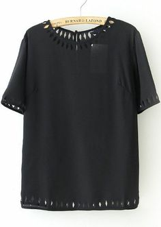 Black Short Sleeve Geometric Hollow Blouse - Sheinside.com