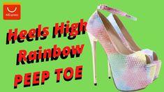 😻Peep toe Heels high RAINBOW [ALIEXPRESS Peep Toe Heels, High Heels, Rainbow, Rain Bow, Rainbows, High Heeled Footwear, High Heel, Stiletto Heels, Shoes High Heels