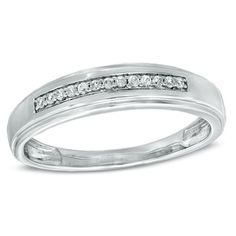 Men's 1/10 CT. T.W. Diamond Wedding Band in 10K White Gold