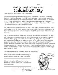 """Here's an easy free comprehension worksheet about the history of Columbus Day. Right click the image, choose """"save image as"""" to save it to your computer. 1st Grade Worksheets, School Worksheets, Worksheets For Kids, Kindergarten Worksheets, Printable Worksheets, Printables, Free Printable, Free Reading Comprehension Worksheets, Reading Fluency"""