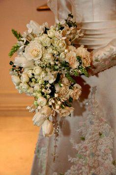 bouquet Lala Rudge, loving the pastel inset florals on dress...