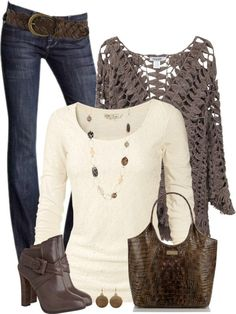 Crochet knit oversize cardigan fall outfit