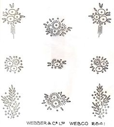 1930's Art Deco Flower Sprig Designs ~ Vintage Iron-on Embroidery Transfer 152 | eBay