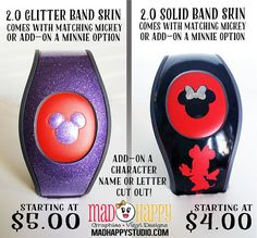 This listing is for a NEW 2.0 Magic Band skin decal. **** Most orders are at about 5 days turnaround at the moment. For Magic Band decals, if you have an upcoming trip fairly close please let me know so I can be sure you get them in time for your trip. :) **** Comes with a Magic Band color band for both sides of the band and one Mickey ear decal that fits over the center Mickey icon all in your choice of color and can be all different colors if youd like. :) You can also add on a Small Minn... Magic Band 2, Disney Magic Bands, Disney Gift, Disney Crafts, Magic Band Decals, Vacation Trips, Vacations, Disney World Trip, Character Names