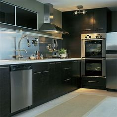 Minimalist Stainless Steel Kitchen Cabinets,,