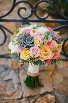 Love the look of roses and succulents together in a bouquet.