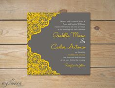 Rustic Lace Daisy Wedding Invitation // DIY by MyCrayonsPapeterie,