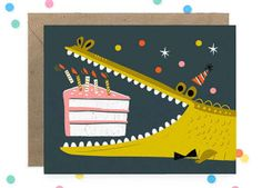 Hooray Today Alligator Birthday card by Hooray Today Alligator Birthday, Birthday Greeting Cards, Cute Illustration, Artwork, Stationery, Drawings, Prints, Etsy, Alligators