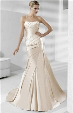 Satin Champagnes Chapel Train Strapless Trumpet/ Mermaid #Wedding #Gowns Style Code: 07521 $219