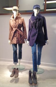 Truffle quilted jacket by Michael Kors; navy asymmetrical button coat by Guess; cute hats by San Diego Hat Co. and Toms boots