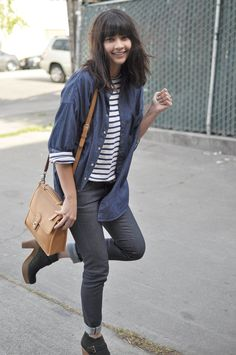 heeled boots, layering, striped top, denim button down