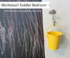 Love this idea of a chalk wall (framed) with a hanging pail/chalk beside it!  Could be in the bedroom or playroom.