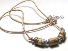 Picture Jasper Heishi Bead Leather Necklace by EponasCrystals, $31.05