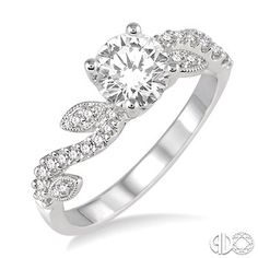 Beckers jewlers Burlington IA: 7/8 Ctw Diamond Engagement Ring with 5/8 Ct Round Cut Center Stone in 14K White Gold
