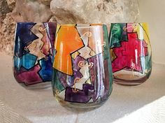 New Stemless Wine Glasses! Other designs will be available soon.  http://www.frenzyart.com/store/cristales-hand-painted-stemless-goblet/?utm_content=buffer8d70e&utm_medium=social&utm_source=pinterest.com&utm_campaign=buffer