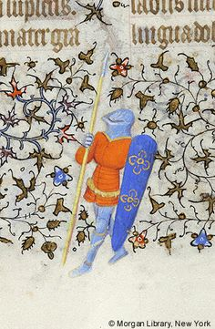 Soldier wearing helmet and armor, holding spear in right hand and long shield in left hand | Book of Hours | France, Paris | ca. 1420–1425 | The Morgan Library & Museum