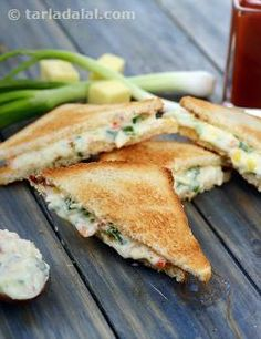 A very quick sandwich that you can carry in your snack box any day. The cheese and spring onion sandwich is quite continental, and has a comfortingly bland taste, without any dominant flavours.