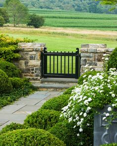 Formal garden space, black gate, wood gate, stone wall with gate Garden Entrance, Entrance Gates, Garden Gates, Landscape Design, Garden Design, Stone Pillars, Front Gates, Fence Gate, Fencing